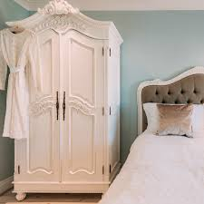white wood wardrobe armoire shabby chic bedroom. Fashionable Bedroom : Shabby Chic With White Comfort Bed Near Intended For Wardrobes Wood Wardrobe Armoire