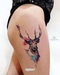 фото татуировки олень в стиле авторский акварель графика лайнворк