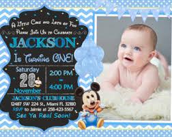 baby mickey mouse invitations birthday mickey mouse birthday invitation printable boy or girl custom