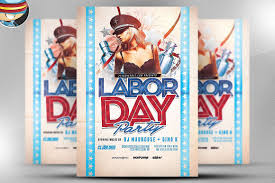 Labour Day Flyer Template Labor Day Party Flyer Template 24 Flyer Templates Creative Market 1