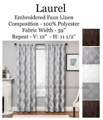 linen curtain panels. Laurel Embroidered Linen Curtains In Brown, White, Grey, Natural Colors Curtain Panels