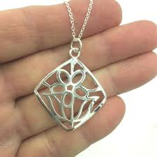 details about new 925 sterling silver square flower pendant necklace free 1 day ship