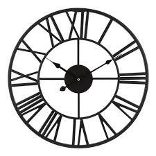 black metal skeleton vintage quartz clock