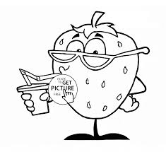 Funny Strawberry Fruit Coloring Page For Kids Fruits Coloring Pages