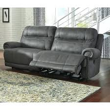 power reclining sofa leather austere 2 seat faux leather reclining power sofa in gray bennett leather