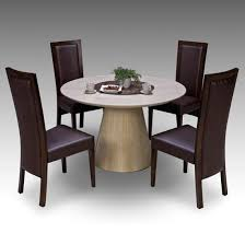 retro round marble dining table and 4 retro elm chairs