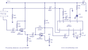 proximity detector using ne ic switches led when object comes ne567 proximity detector circuit