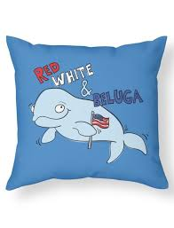 red white and beluga whale with an american flag the perfect throw pillow to add to your couch on the fourth of july whalepillow whale whales beluga