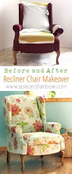 dramatic before after transformation and detailed tutorial on how to makeover an upholstered recliner chair