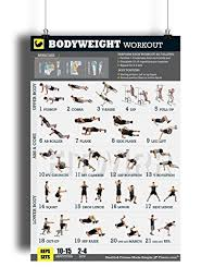 Total Body Gym Workout Chart Bodyweight Workout Exercise Poster Now Laminated Gain Strength Muscles And Lose Fat Home Gym Fitness Training Program Strength Training