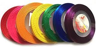 Amazon.com: 7 Rolls (105 Yards) <b>Satin Ribbon</b> 7 Mm <b>Mix</b> Rainbow ...