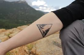 Deer In The Forest Triangle Scene Temporary Tattoo