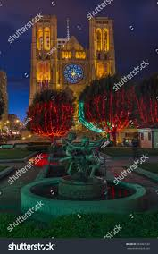 Cathedral Square Park Christmas Lights Christmas Lights Park Grace Cathedral San Stock Photo Edit
