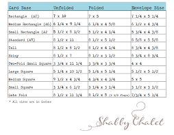 Card Size Chart Shabby Chalet Studio 17 Card Envelope Size Chart