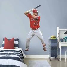 mike trout at bat life size officially licensed removable wall decal fathead baseball stickers