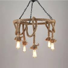 outfit brightness 6 head vintage industrial hemp rope pendant lamp chandelier living room dining light uk