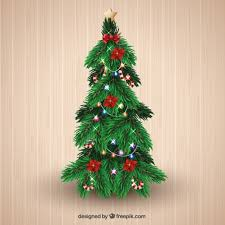Decorating Christmas Tree With Balls Amazing Christmas Tree With Balls And Poinsettias Vector Free Download