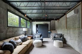 exposed ceiling lighting basement industrial black. corrugated ceiling ideas basement industrial with black cabinet white drum lamp shade ribbon window exposed lighting m