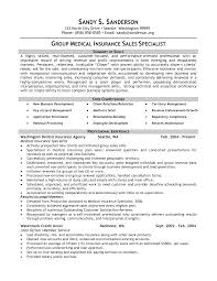 Medical Insurance Specialist Resume Example Group Sales Sample
