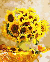oil painting by numbers coloring picture diy hand wall art canvas paint home decor sunflower creative on diy sunflower wall art with oil painting by numbers coloring picture diy hand wall art canvas