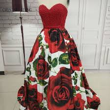 Sweet Heart Rose Size Chart Crystal Jiang 2019 Hot New Sweetheart Red Pearl Beaded Big Rose Floral Printed Ball Gown Sweep Train Amazing Evening Dresses