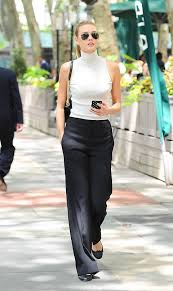 office wardrobe ideas. 15 Summer Workwear Ideas: Black Pants And White Sleeveless Turtle Neck Office Wardrobe Ideas