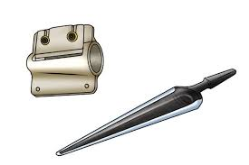 mortise and tenon cutter. image showing matching tapered spoon bit and tenon cutter mortise
