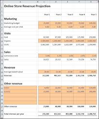 Sales Projection Format In Excel Online Store Revenue Projection Plan Projections