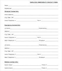 Employee Emergency Information Form Templates Danafisher Co