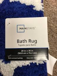 mainstays fretwork bath rug navy white bathroom new usa