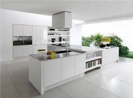 image modern kitchen. White Themes Modern Kitchen Ideas With Ceiling Chimney Stove Over L Shape Island Shelves Image