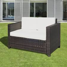 outdoor furniture wicker. Brilliant Wicker Outsunny Rattan Sofa Chair 2 Seater Garden Patio Furniture Wicker W  Cushions To Outdoor