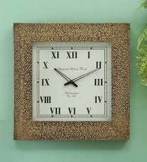 wooden brassfitted square wall clock