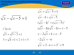 19 algebra 2 solving square root and other radical equations lesson 7 5