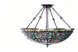stained glass pendant light 2 antique bronze