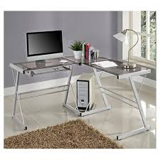 glass l shaped computer desk with