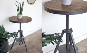 industrial wood and metal table round side table rustic
