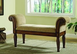 bedroom bench. coaster 100224 rolled arm bench with cushioned seat bedroom