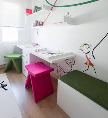 designs ideas lovely kids room with white study desk feat pink and green stools plus