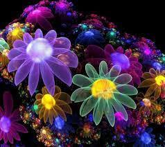 Neon flowers, Flower wallpaper, Fractal art
