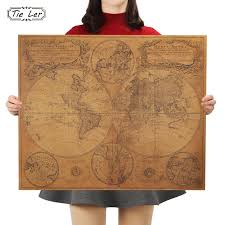 tie ler vintage home decoration antique poster wall chart retro paper matte kraft paper map world wall sticker decal tree wall art decal wall from partter