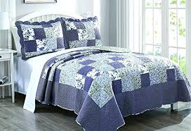Blue Quilt Coverlet Home Teal Bedding Comforter Sets Duvet Covers ... & ... Dada Bedding Reversible Patchwork Plaid Floral Blueberry Patch Bedspread  Quilt Set Navy Blue Cal Blue Quilt ... Adamdwight.com