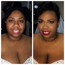 bridal makeup before and after image