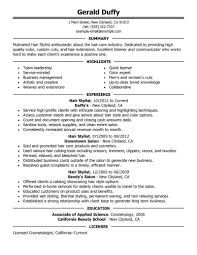 Hair Stylist Job Description Resume