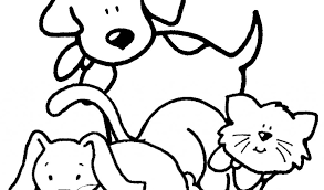 Disegno Di Cane Gatto E Coniglio Da Colorare Per Bambini Con