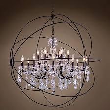 joshua marshal 701513 001 foucault s orb design 18 lt 43 5 deep iron pendant with clear european crystal