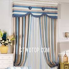 brown and blue casual fabric traditional custom striped curtains no include valance