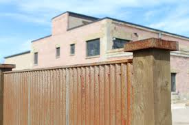 sheet metal privacy fence. Rusted Corrugated Fence Sheet Metal Privacy