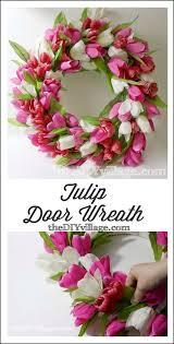 tulip door wreath tutorial by thediyvillage com