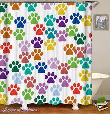 colorful shower curtains. Unique Curtains Colorful Dog Paws Shower Curtain Throughout Shower Curtains N